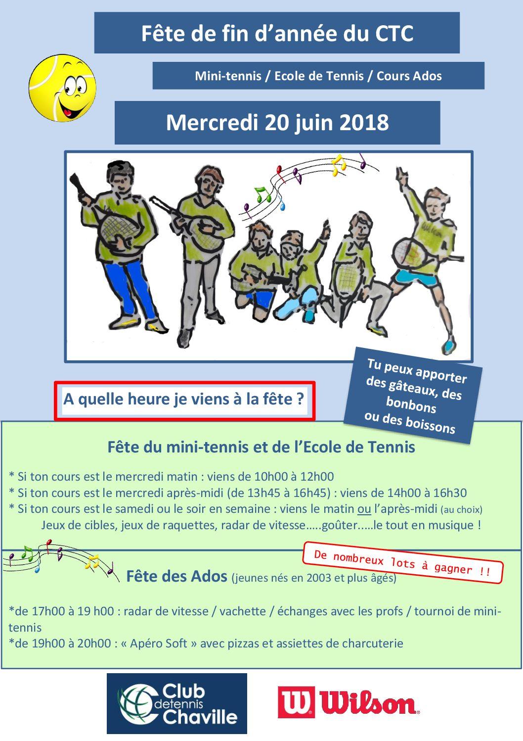 fête des jeunes du tennis: mercredi 20 juin